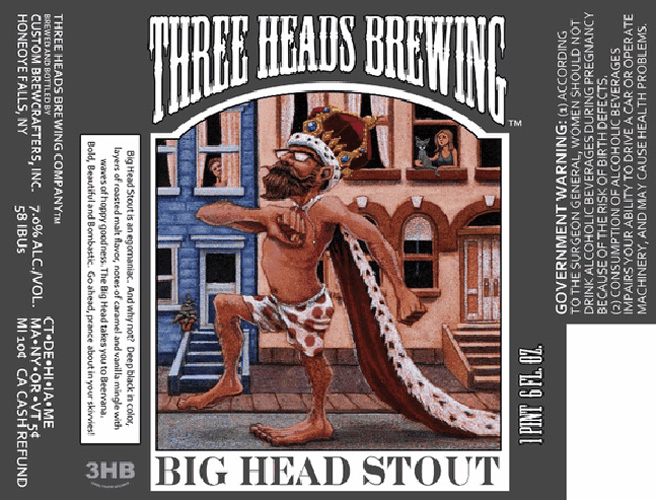 Three Heads Brewing Big Head Stout (via Beer Pulse)