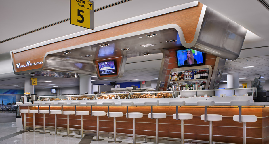 Jason Denton of 'inoteca is behind Bar Brace in Terminal D at LaGuardia and Terminal 3 at JFK.