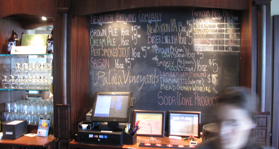 The rotating draft lineup at Newburgh Brewing Co.