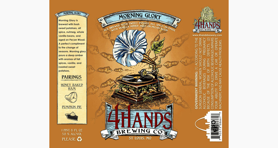 4 Hands does a nice job of creatively incorporating the beer's offbeat ingredients, including sweet potatoes, into the design.