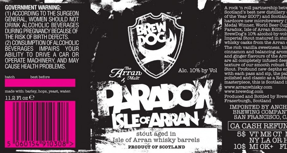 Brew Dog is very consistent with its labeling, but we like the little tweaks to this collaboration with Arran distillery—for example, the hot pink barcode. Source