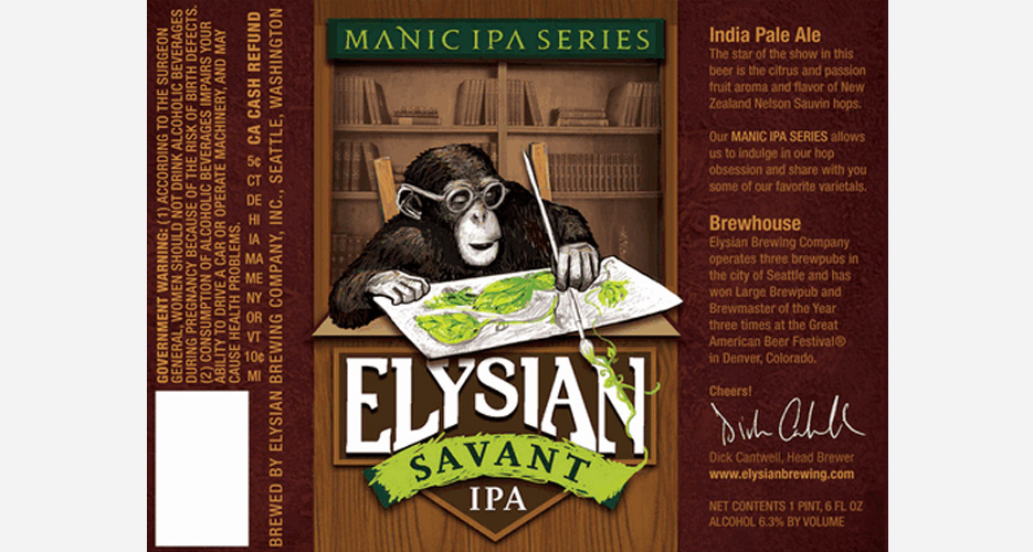 A monkey drawing water colors of hops would indeed be a savant. More fire from Elysian.