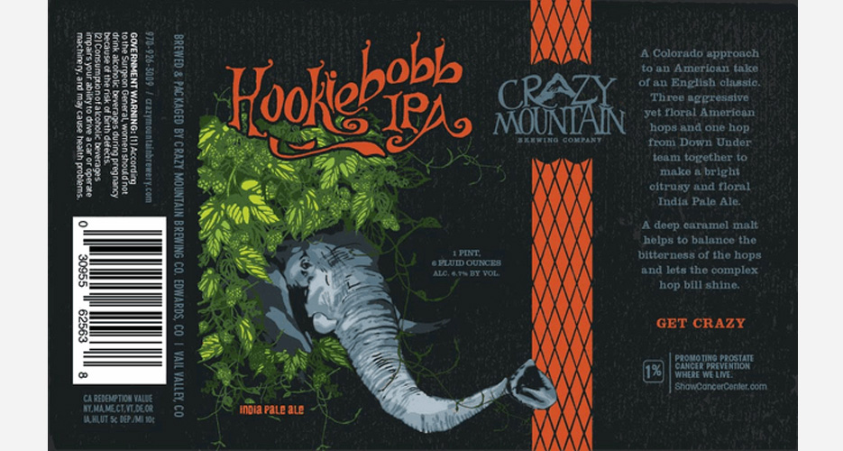 """Crazy Mountain Brewing Co. does indeed """"get crazy"""" on this label, shrouding an elephant in hops. Source"""