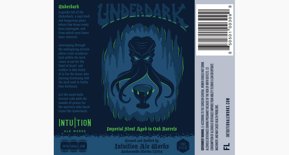 This label from Intuition Ale Works reminds us of a level boss in a Sega Genesis game—which, of course, is a good thing.