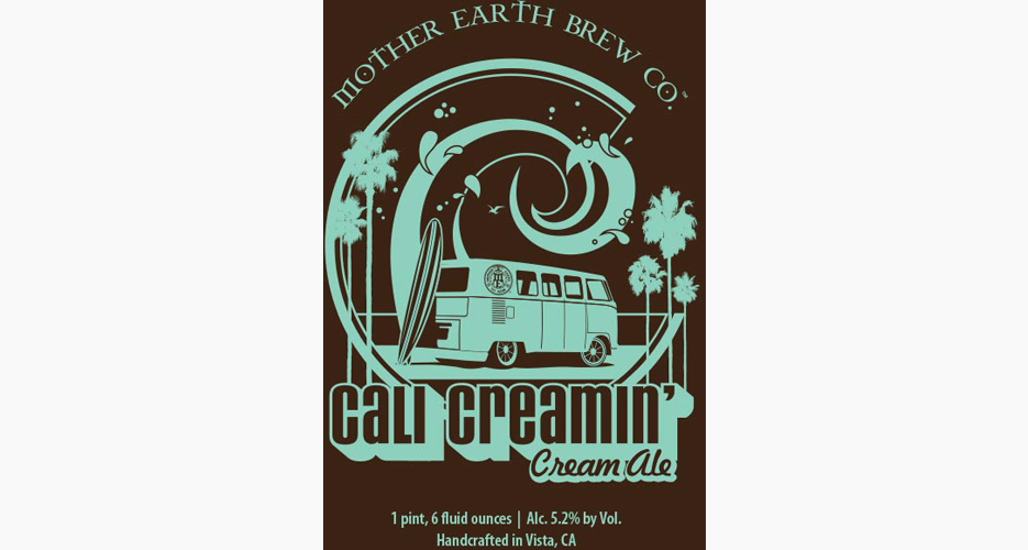 The retro, hang-ten vibe of this art from Mother Earth Brew Co. is successful, as is the excellent pun on the name: Cali Creamin'.