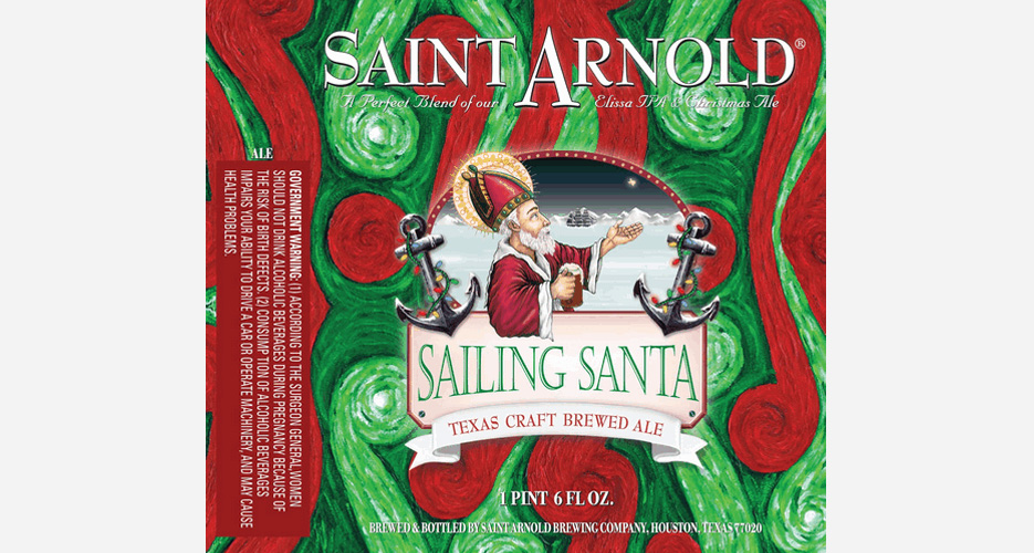 Pardon us for getting excited that it's Christmas beer season—love the swirls of red and green, and the Christmas lights on the anchors. Source