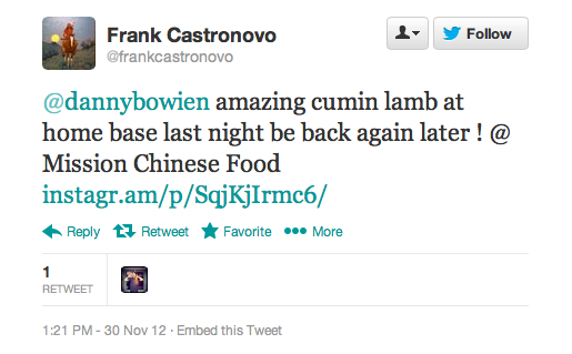 Endorsement #8: Frank Castronovo, co-owner and chef of Prime Meats