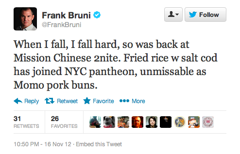 Endorsement #9: Frank Bruni, former New York Times restaurant critic
