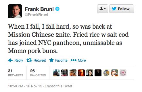 Endorsement #9: Frank Bruni, former New York Times restaurant critic