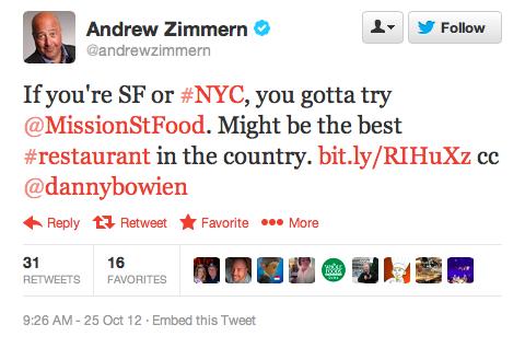 Endorsement #2: Andrew Zimmern , host of Bizarre Foods