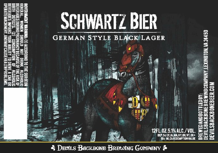 Dark, Germanic, warlike—Devil's Backbone rocks the perfect label for a Bavarian black lager.