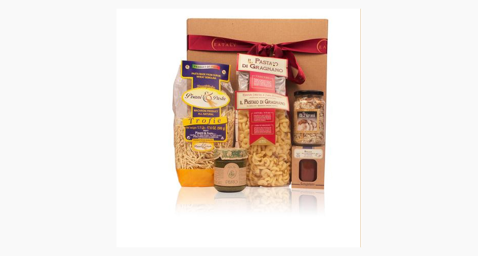 Eataly gift sets. Now that Eataly is in the mail-order game, you can get beautiful gift baskets—with themes like antipasta, sweets, and olive oil—shipped to your favorite Italian food obsessive. From $29.80.