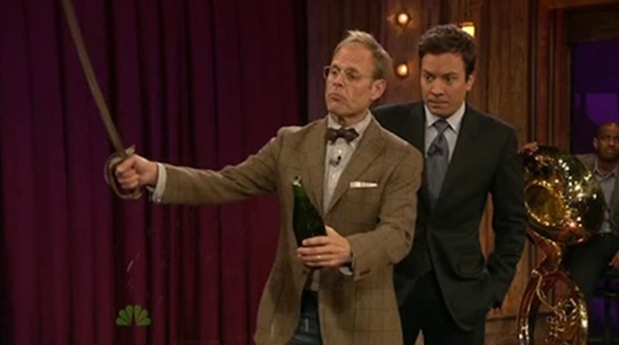 The Alton Brown way: Bowties are key to sabering like a gentleman.
