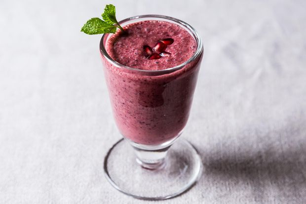 Triple Pomegranate Smoothie. A tart-sweet, one-step smoothie that uses pomegranate in all its forms—juice, arils, and molasses—so there's no way the fruit doesn't sit front and center, in all its glory.