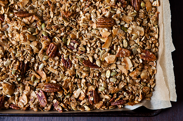 Nekisia Davis' Olive Oil and Maple Granola. Olive oil, maple, brown sugar, and coarse salt form a rich, shaggy crust on wholesome innards like oats, pecans, and coconut shards. Grab a handful and go.