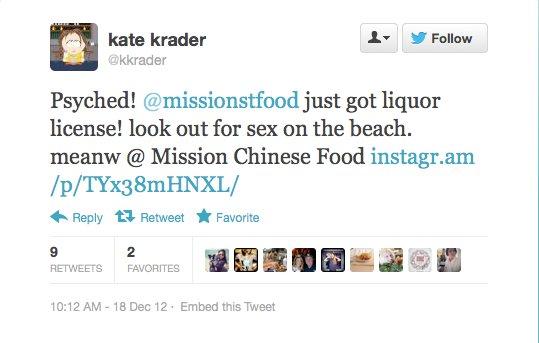 Endorsement #11: Kate Krader, Food & Wine restaurant editor