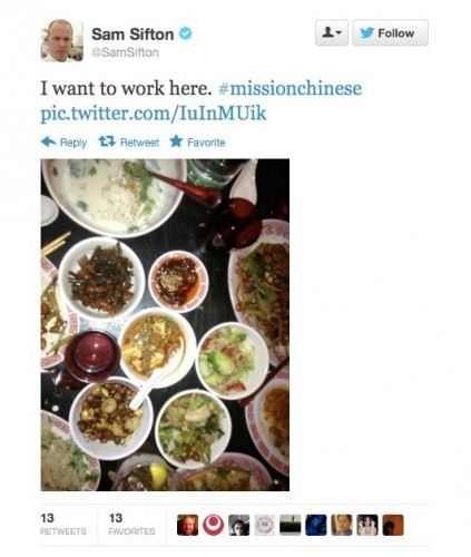 Endorsement #5: Sam Sifton, former New York Times restaurant critic