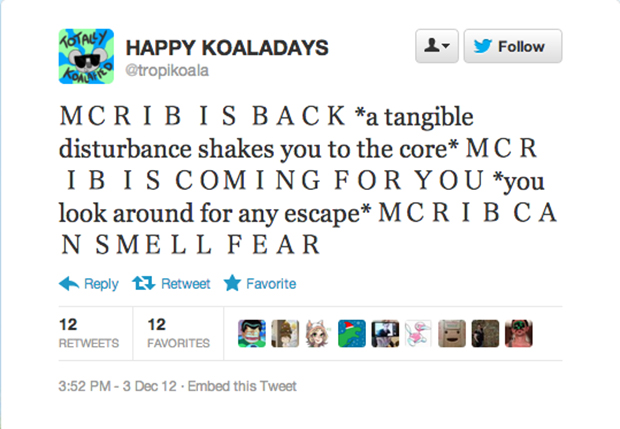High-concept McRib tweet: Complete.