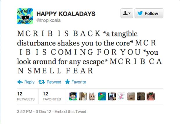 High-concept McRib tweet: Complete.