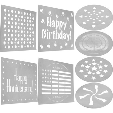 What type of brazen fool attempts to write happy birthday on their food without the Decorating Stencils Set of 8. $9.99