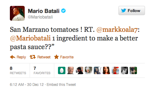 Tomato recommendation for pasta sauce
