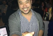 Chilling with his cook-off adversary, David Chang.