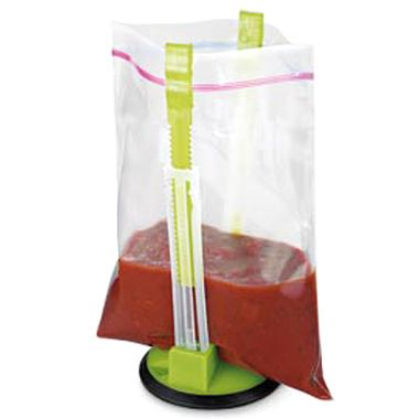 The Baggy Rack solves the challange of pouring liquid into a limp plastic bag. $9.95
