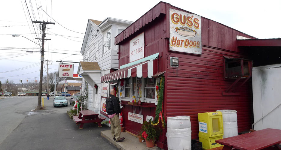 The approach to Gus's Hotdogs in Watervliet, NY