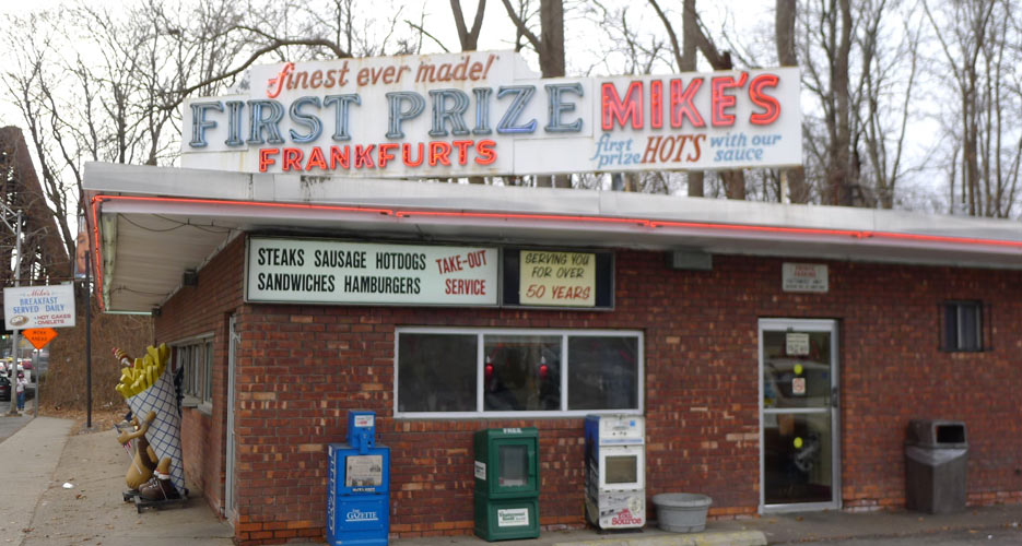 Mike's in Schenectady isn't much to look at from the outside, but the hot dogs are great