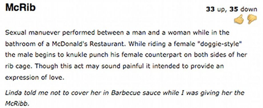 """This """"sexual maneuver"""" is exactly what you always thought was going on in McDonald's bathrooms. If that's a McRib, what's a Double Quarter Pounder?"""