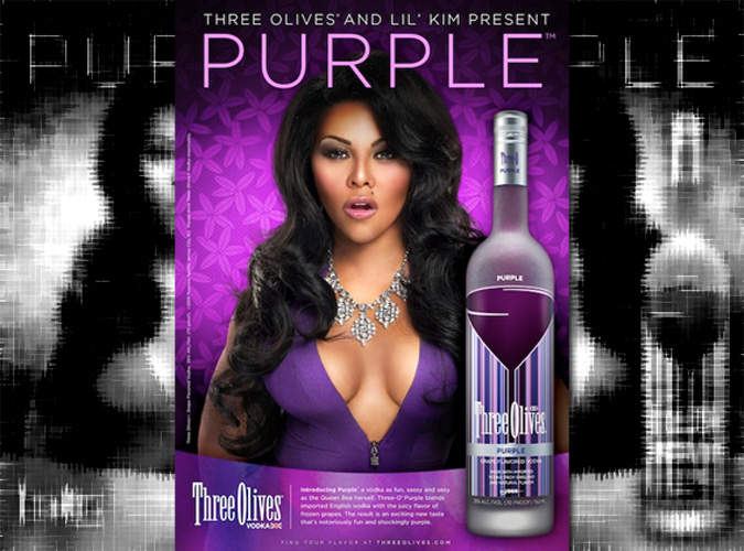 """Lil' Kim showed her """"O"""" face in an ad campaign for Three Olives, a quadruple-distilled vodka made in the United Kingdom."""