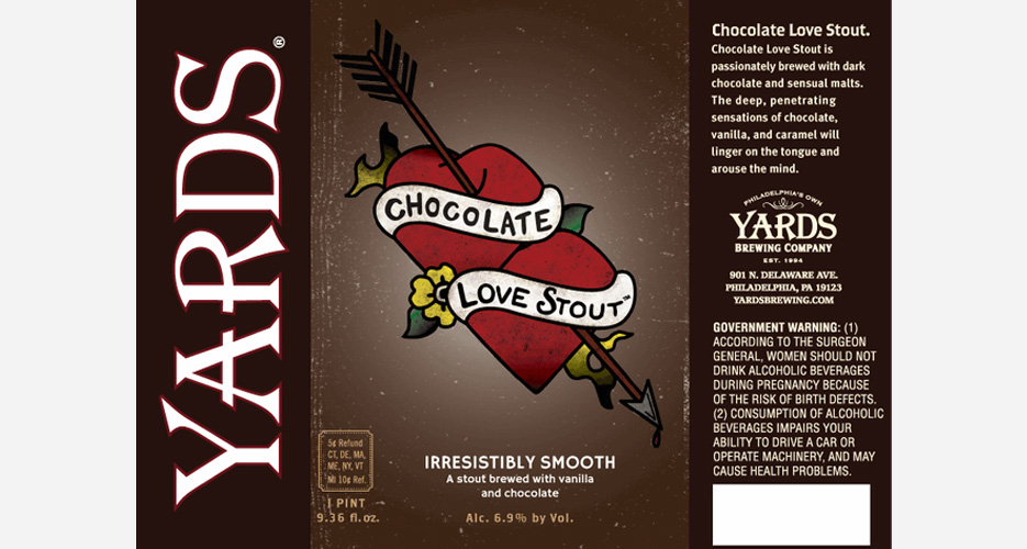 Yards spins classic tattoo flash art for the 2013 edition of its Chocolate Love Stout.