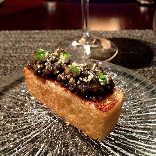 Off-the-menu special course (smoked brioche, maple crème fraîche, and caviar)