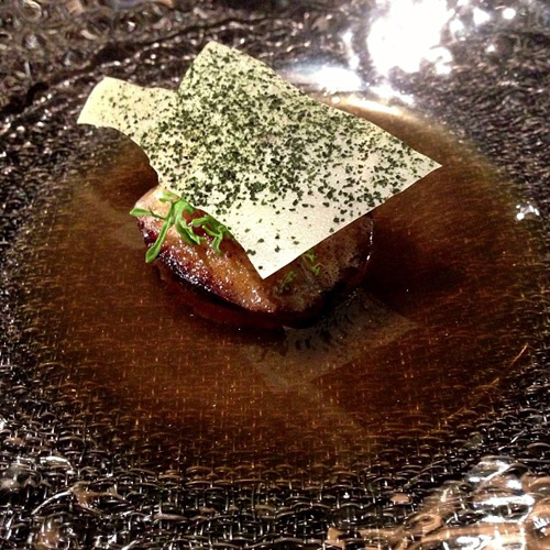 Kyushu amadai kabocha pickled garlic flake escabeche