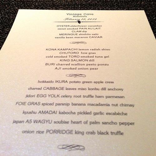The menu on February 12, 2013