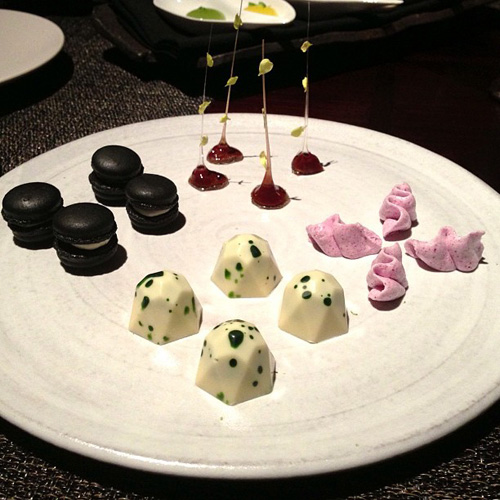 Petit-four, including truffle meringues