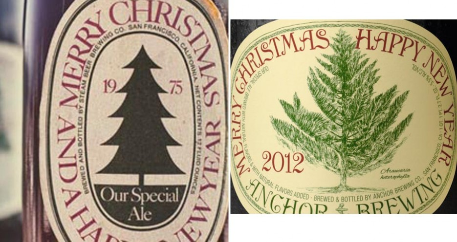 Anchor Christmas Ale 1975—the first release of the cultishly collected seasonal—versus 2012 (photos: Anchor Brewing Co.)