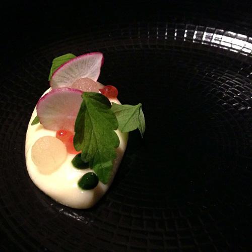 Hokkaido ikura potato green apple cress