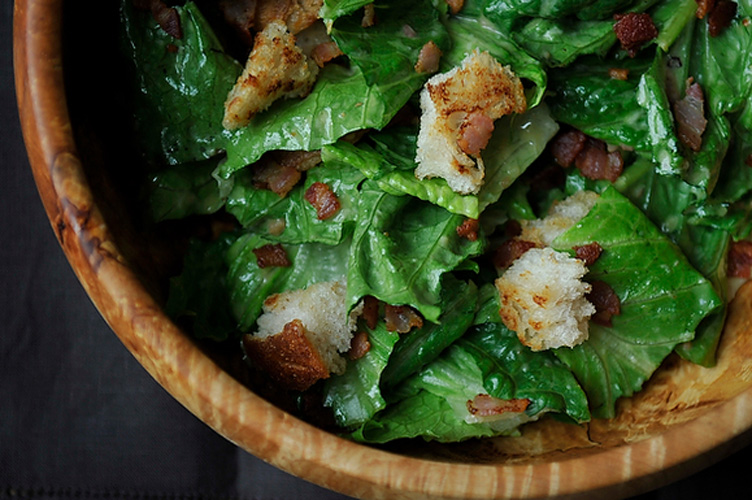 Caesar Salad with Pancetta. This salad is everything a Caesar should be—assertive, complex, and rich—with a few bonus points tacked on for the inspired use of pancetta (both on its own and as an instrument for crisping the homemade sourdough croutons).