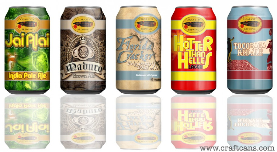 Cigar City's new line. Florida's leading craft brewery has been on a canning rampage of late, and it's not slowing down. We're most excited for the redesigned Maduro Brown Ale can and the Jai Alai IPA Aged on White Oak. Apparently they'll hit in the next few months.