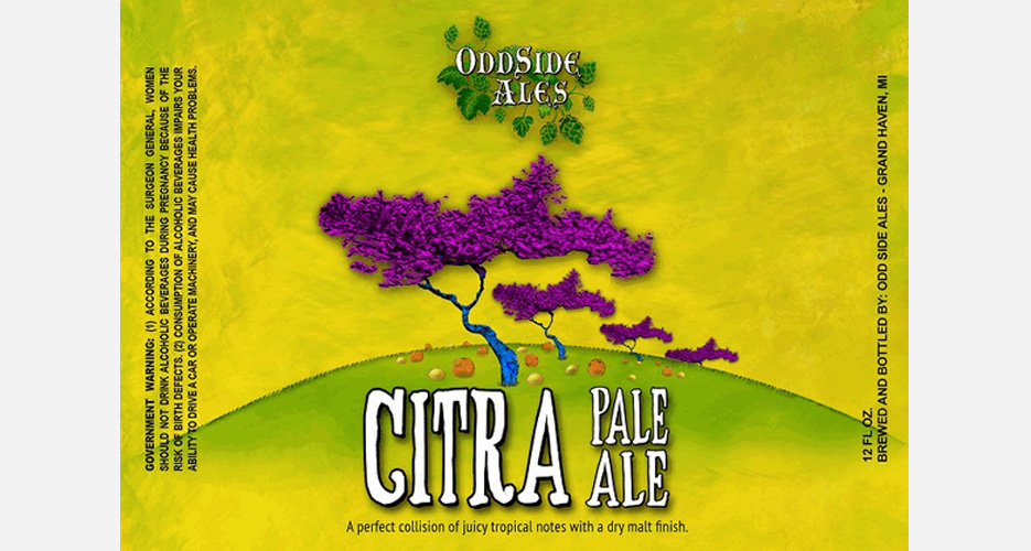 This label is just straight-up pretty; nice concept and colors, especially for a beer packed with tropical-fruit flavors from the Citra hops.