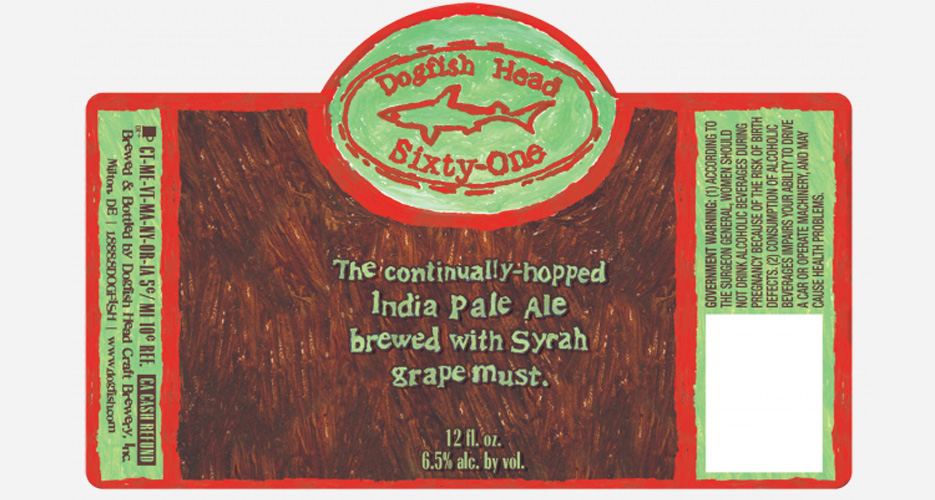 The new Dogfish Head 61 is a blend of Dogfish Head 60 Minute IPA and Syrah grape must. The hand-painted feel of the label is simple and lovely.