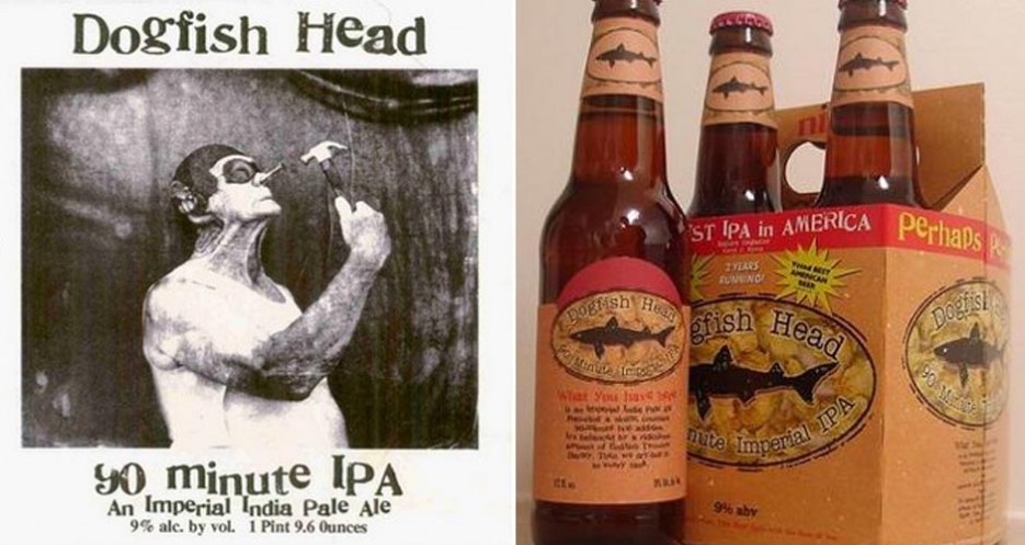 Dogfish Head 90 Minute IPA, 12 years ago and today (photos: