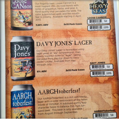 The Heavy Seas lineup. The Baltimore brewery is moving some of its flagships to cans. Loose CANnon is first on the agenda, followed by Davy Jones Lager and AARGHtoberfest in early fall.