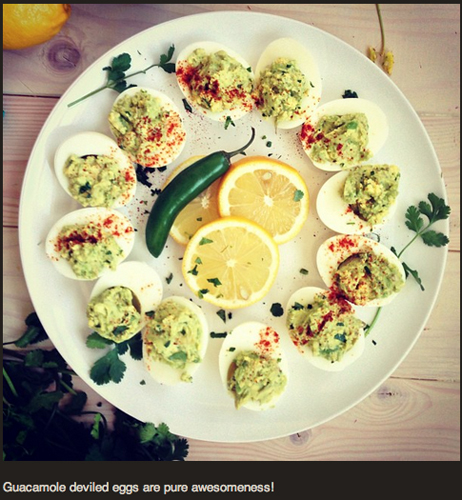 Jerry James Stone's guacamole deviled eggs are pure awesomeness. (Via @jerryjamesstone)