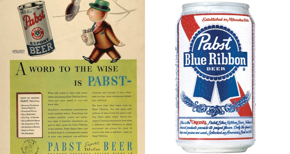 Back in 1936, PBR came in tin cans. That was long before it was resurrected as a hipster favorite. (Photos: Pabst Blue Ribbon)