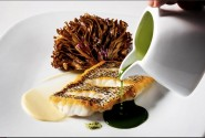 Can this photo of seared black sea bass with grilled maitake and basil broth from Cedric Vongerichten at Perry St be real?