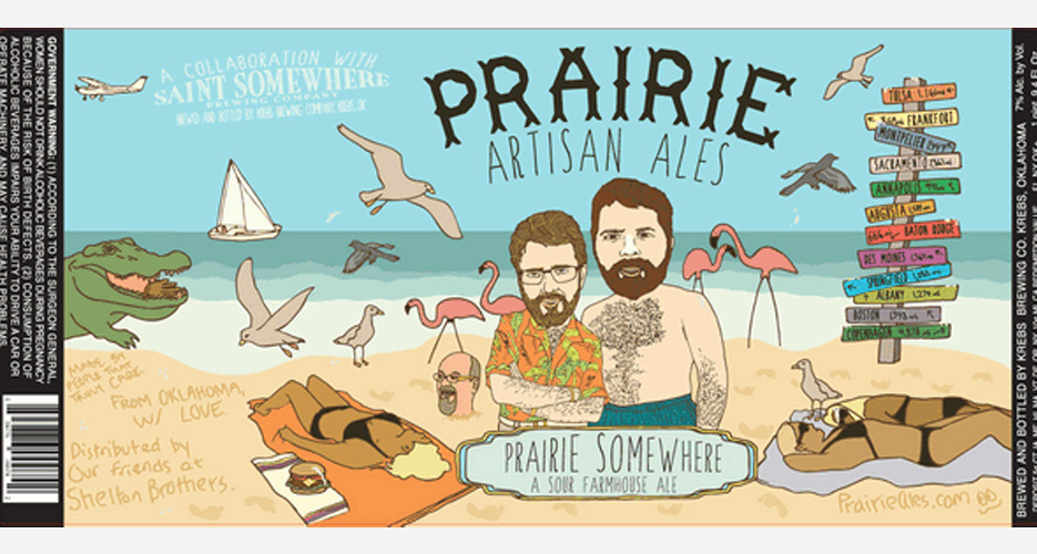 So many great details in the art for this collabo between Prairie Artisan Ales and Saint Somewhere, including the writing in the sand and the burger on the beach towel.
