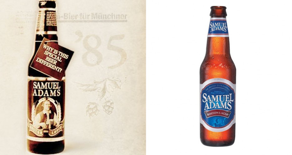 Sam Adams should have stuck with the original 1985 label, which emphasized the brewer patriot figure (photos: Sam Adams)