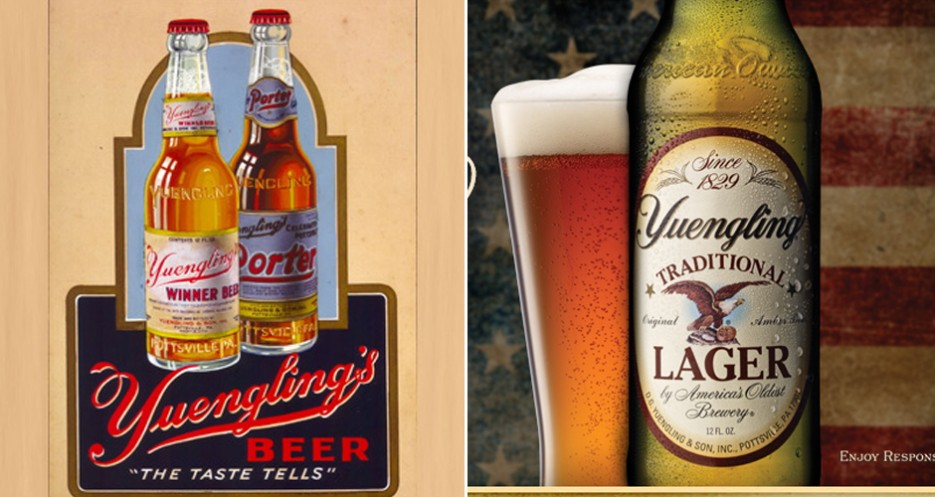 Yuengling has shifted its visual identity various times through its nearly 200-year history (photo: Yuengling)